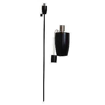Trädgård Fire Torch - Olja / Paraffin Black Lantern - 1460mm Fat Design