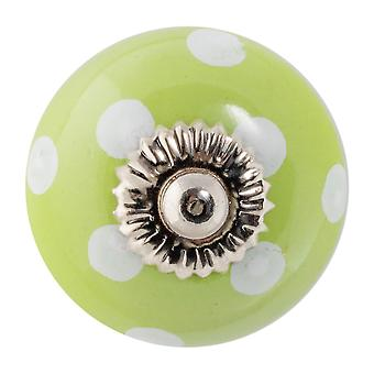 Nicola Frühling Keramik Schrank Schublade Knopf - Polka Dot Design - grün / weiß