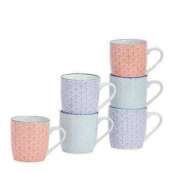 Nicola Spring 6-osainen geometrinen kuviollinen tee- ja kahvimukisetti - Pienet posliiniset cappuccino-kupit - 3 väriä - 280ml