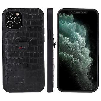 For iPhone 12 Pro/12 Case Crocodile Pattern PU Leather Card Slot Cover Black