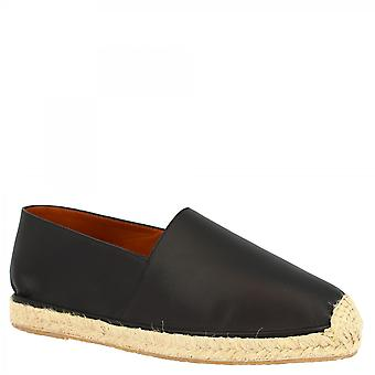 Leonardo Shoes Men's handmade slip-on round toe espadrilles in black calf and napa leather