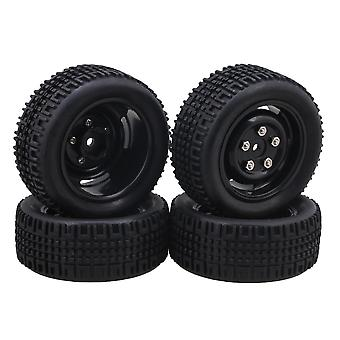 4x Black 4-Hole Wheel Rims + U Rubber Tires for RC1:10 On Road/Rally Car
