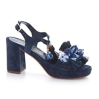 Blue Suede Sandal with Colorful Decorations