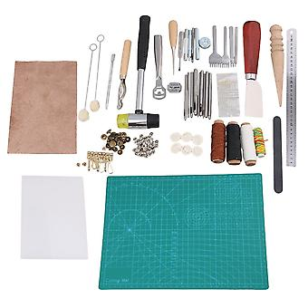42PCS Leather Craft Working Tool Kit Set Punch Stitching Groover Creaser