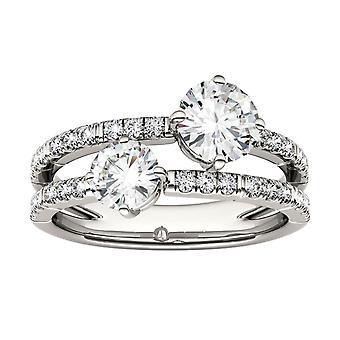 14K White Gold Moissanite door Charles & Colvard Two Stone Fashion Ring, 1.60cttw DEW