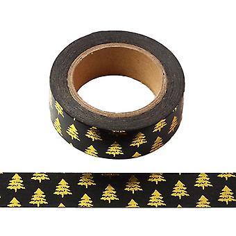 أسود مع الذهب احباط شجرة عيد الميلاد Washi الشريط الشريط التزيين الشريط
