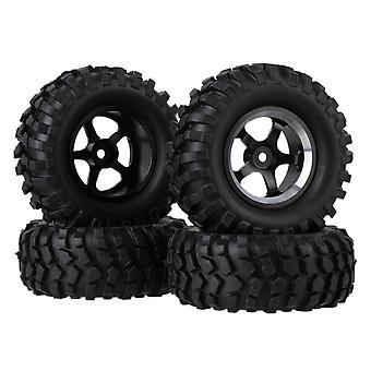 4stk Simulation Tire Sort legering 5-Spoke Wheel Rim for RC 1:10 Rock Crawler Bil