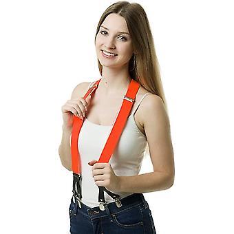 Neon oranje hoge kwaliteit 6 clips clips bretels met leren bandjes unisex