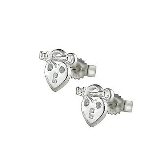 Boucles d'oreilles Stud Heart With Key Silver 925