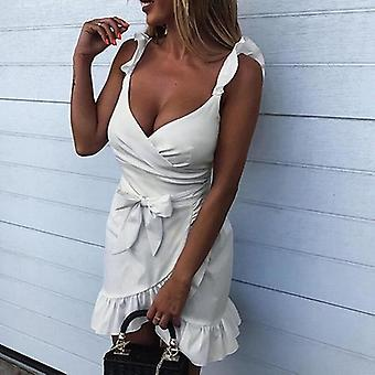 Ruffle Bow Sexy V Neck Bodycon Dresses