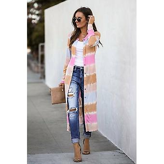 Color Lock Pocketed Button Duster Long Cardigan