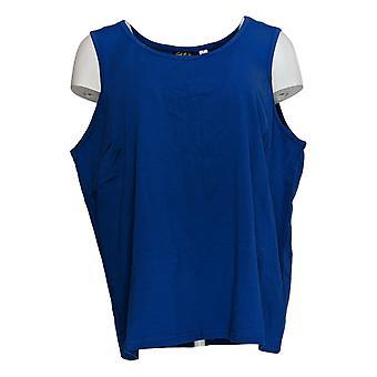 Bob Mackie Women's Plus Top Essentials Sleeveless Blue A345154