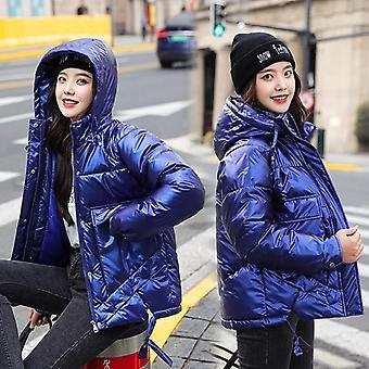 Winter Short Casual Thicken Warm Hooded Windproof Shiny Pocket Jackets