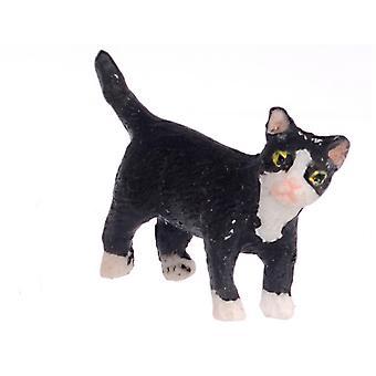 Dolls House Black Kitten White Socks Standing Turning Right Pet Cat 1:12