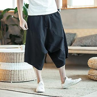 Men Harajuku Harem Pants, Summer Cotton Linen Joggers Pant, Male Vintage