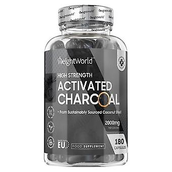 Activated Charcoal - 2000 mg 180 Capsules. 100% Pure & Sourced from Coconuts
