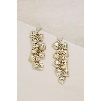 Boucles d'oreilles Heart Cluster 18k Gold Plaqué Drop