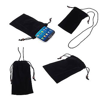 Case Cover with Chain and Loop Closure Soft Cloth Flannel Carry Bag for Evolveo StrongPhone G4