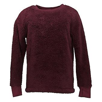 Cuddl Duds Women's Sweater Shaggy Sherpa Pullover Top Purple A381801