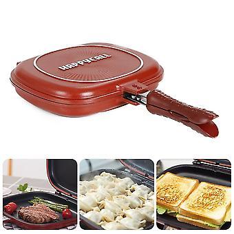 28/32cm Double Side Grill Fry Pan Double Face Pan Steak Fry Pan