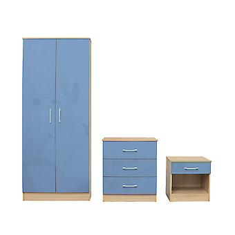 Darcy Bedroom Set Blue - Cupboard, Cabinet, Bedside Table