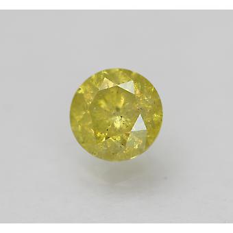 Cert 0.50 カラット ビビッド イエロー SI3 ラウンド ブリリアント エンハンスナチュラル ダイヤモンド 4.84mm
