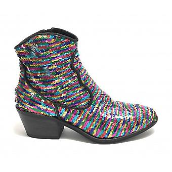 Women's Shoes Gio+ Texan Leather Ankle Boot With Multicolor Sequins Ds19gi03