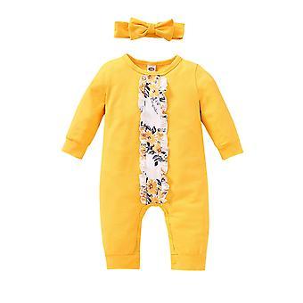 חליפת חורף בצבע מלא לילדים לתינוק עם שרוולים ארוכים חליפת סרבל פרחונית