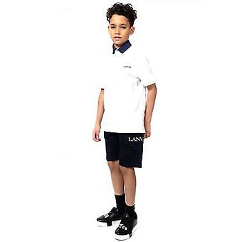 Lanvin Kinder weiß bestickt Logo Polo Shirt