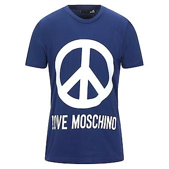 Love Moschino Large Brand Peace Logo T-Shirt Blu
