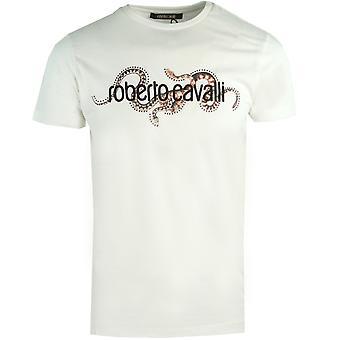 ロベルト カヴァッリ スタッド ブランド ロゴ ホワイト T シャツ