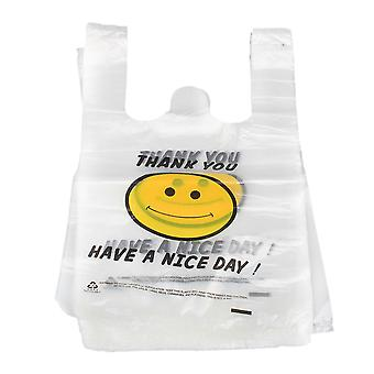 100 x Smile 19.5 x 30cm Plastic Shopping Bags Supermarket Vest Handbags