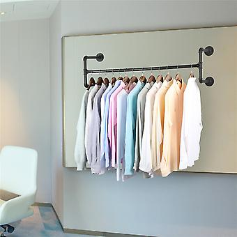 Heavy Duty Wall-mounted Clothes Rack Industrial Pipe Clothes Hanging Bar Black