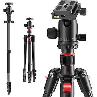 Kamerastativ 168 cm, tragbares Reisestativ mit Einbeinstativ 360 Panoramakugel, kompaktes, leichtes