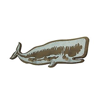 21 Inch Distressed Wood Whale Wall Hook Rack With Metal Accents Decorative Ocean Art Sculpture