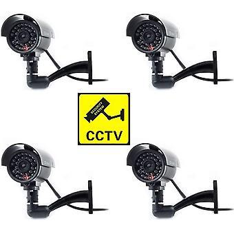 Dummy Kamera Fake berwachungskamera CCTV mit Blinkendem LED Licht Sicherheitskamera - 4 stecken