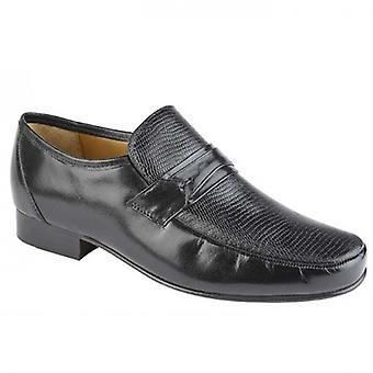 Kensington Flavio Mens Leather Snakeskin Effect Loafers Black