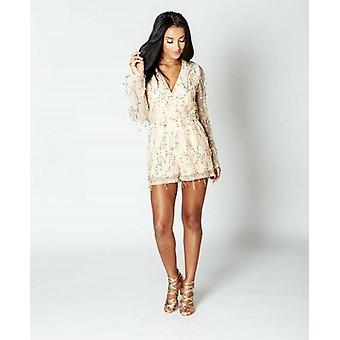 Sequin fringed wrap front playsuit