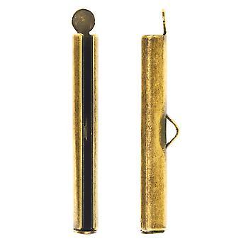 Nunn Design Ribbon Cord Ends, Barrel 33.5mm, 2 Pieces, Antiqued Gold
