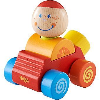 304737 - Entdeckerauto Ben, buntes Auto aus Holz mit Steckfigur, 4 Teile, Spielzeug ab 12 Monate
