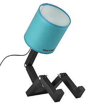 PANTONE Lampada da Tavolo Wally Colore Azzurro, Nero, in Legno, PVC, Metallo, Tessuto L15xP40xA45 cm