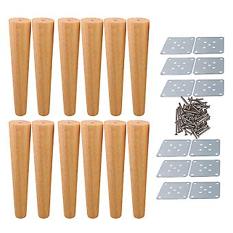 12pcs Tapered Wooden Furniture Legs 30x6x3.5cm for Cabinets Wood Color