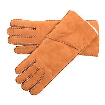 Ladies Long Fold Over Sheepskin Gloves
