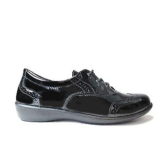 Ricosta Kate 8531600-093 Wide Width Patent Leather Girls Lace Up Brogue School Shoes