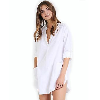 Women Blouse Stand Up Collar Double Pockets Beachwear Suncreen Bikini Cover Up
