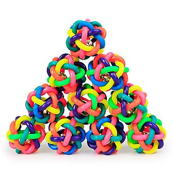 Colorful bell woven ball, 5.5cm small leather skin, rainbow rubber ball, dog toy ball, exploding pet