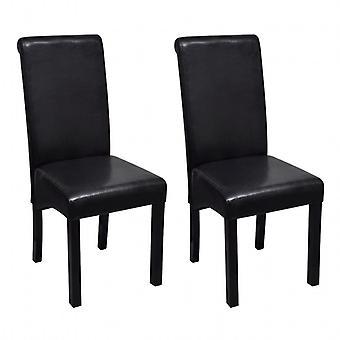 vidaXL تناول الطعام الكراسي 2 PCS. الجلد الاصطناعي الأسود