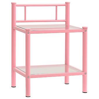 vidaXL Yöpöytä Vaaleanpunainen Läpinäkyvä 45x34,5x60,5 cm Metalli ja lasi