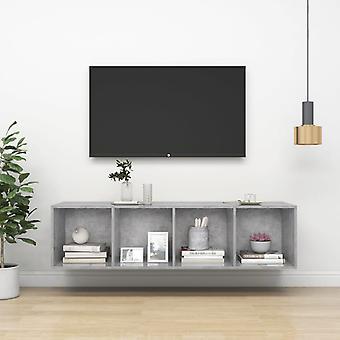 vidaXL armoire de télévision en béton gris 37x37x142,5 cm panneau de particules