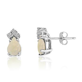 LXR 14k White Gold 7X5 Pear Opal and Diamond Earrings 0.7ct